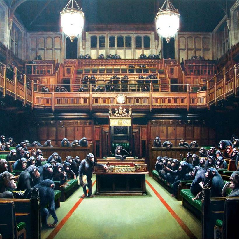 Monkey Parliament (2009) af Banksy